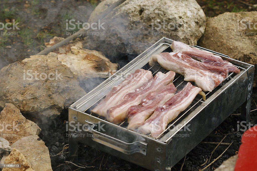 Pork chops on grill stock photo