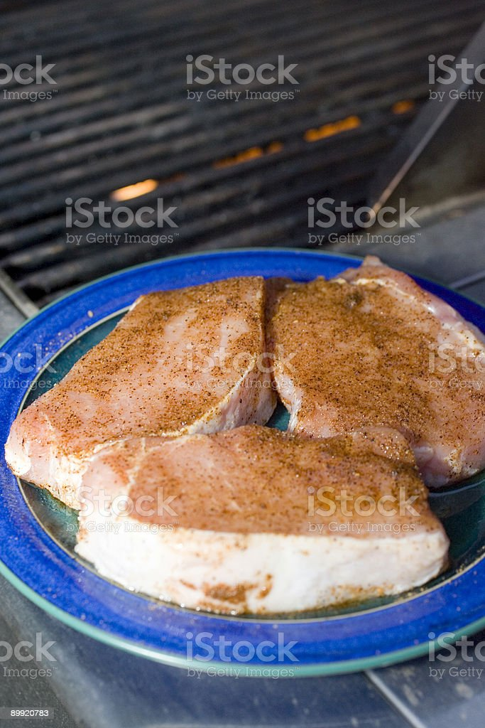 Pork Chops waiting for the grill stock photo