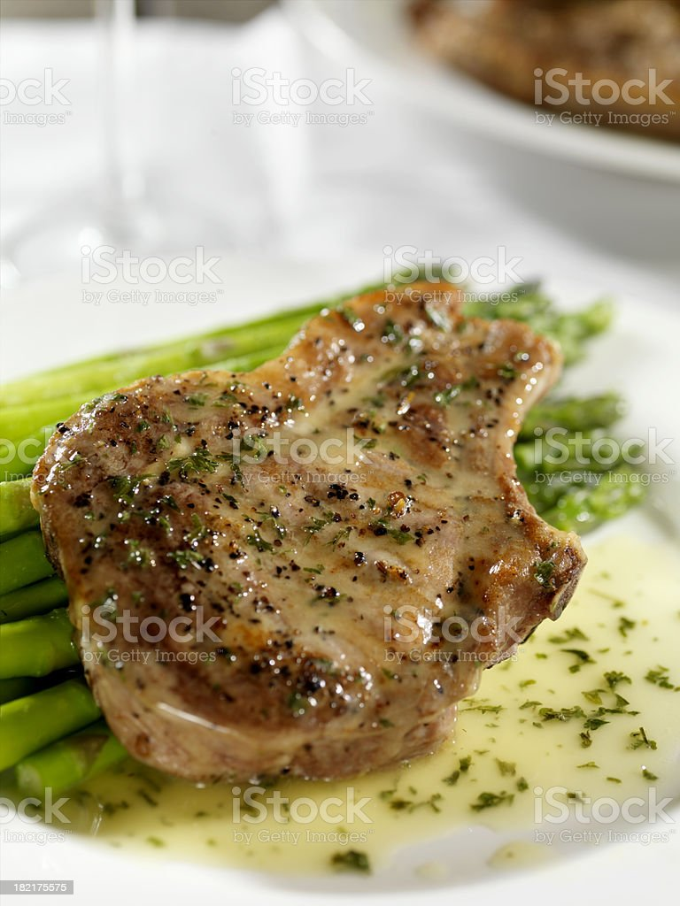 Pork Chops with Asperagus royalty-free stock photo