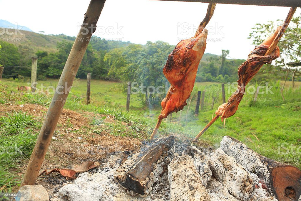 Pork Cooking with Firewood stock photo