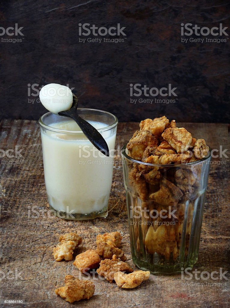 pork crackling, scratchings, various fried bacon stock photo