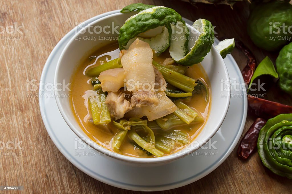 Pork curry with water spinach (Tae-pho soup) still life stock photo