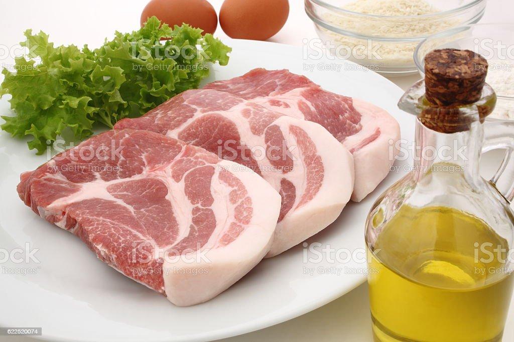 Pork cutlet ingredients stock photo