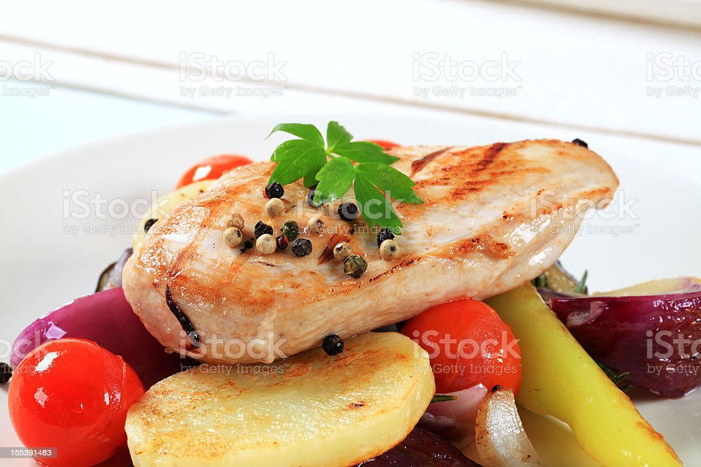 Pork cutlet with baked potatoes royalty-free stock photo