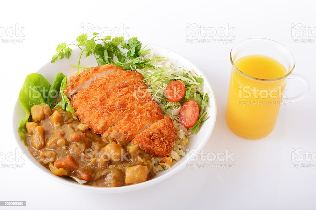 Pork cutlet with curry stock photo