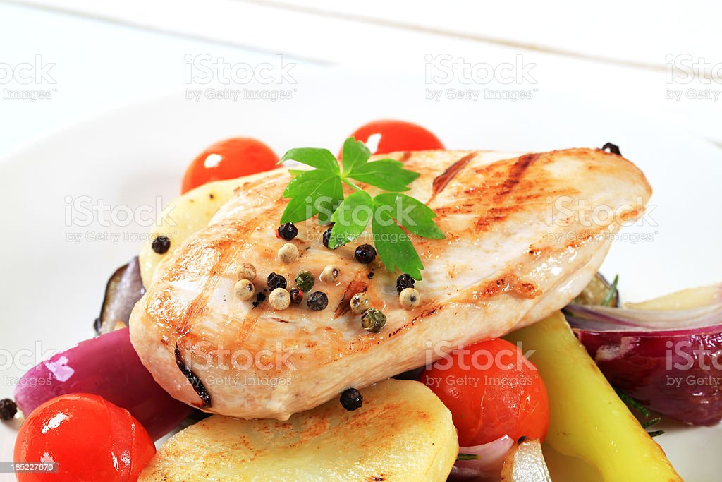 Pork cutlet with potatoes and vegetables royalty-free stock photo