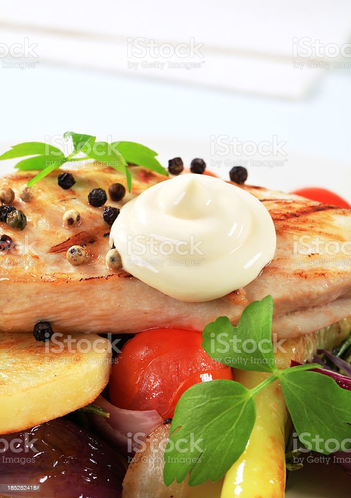 Pork cutlet with vegetables royalty-free stock photo