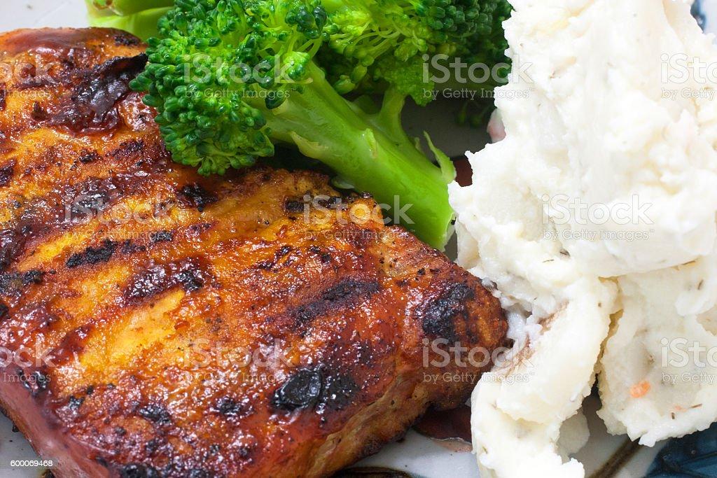 pork dinner plate stock photo