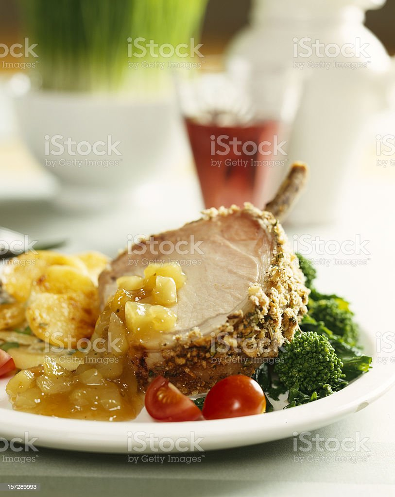 Pork dinner with vegetables royalty-free stock photo
