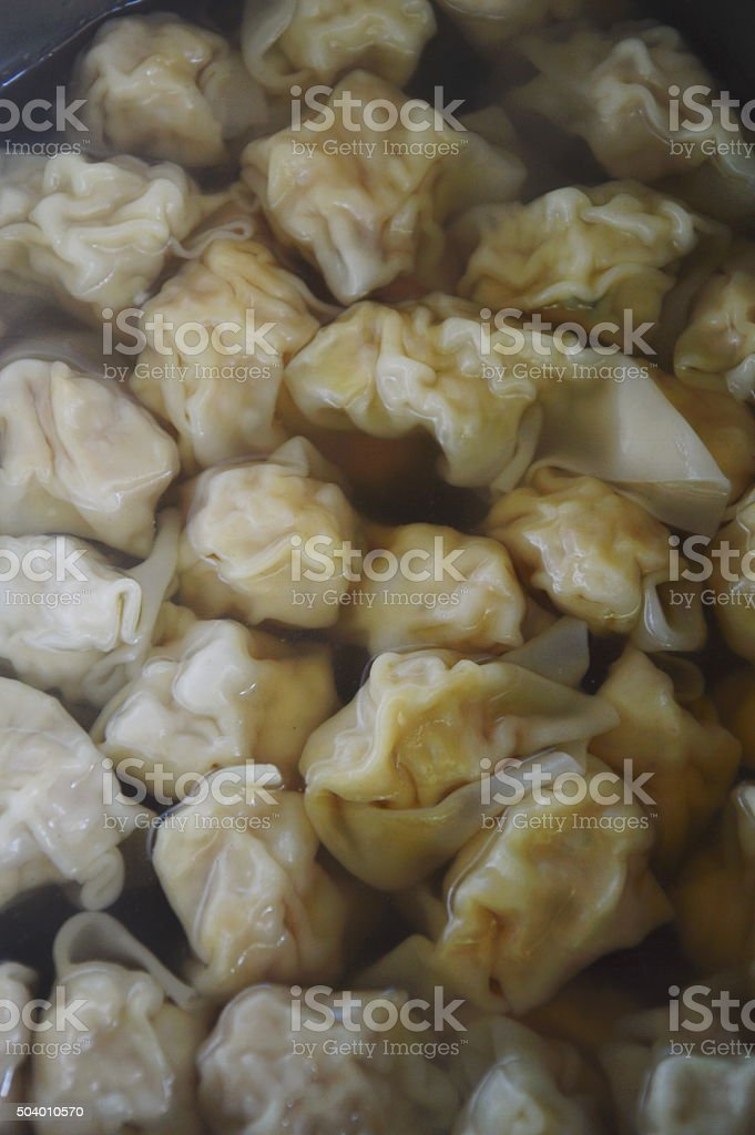 pork dumpling boiled in hot pot stock photo