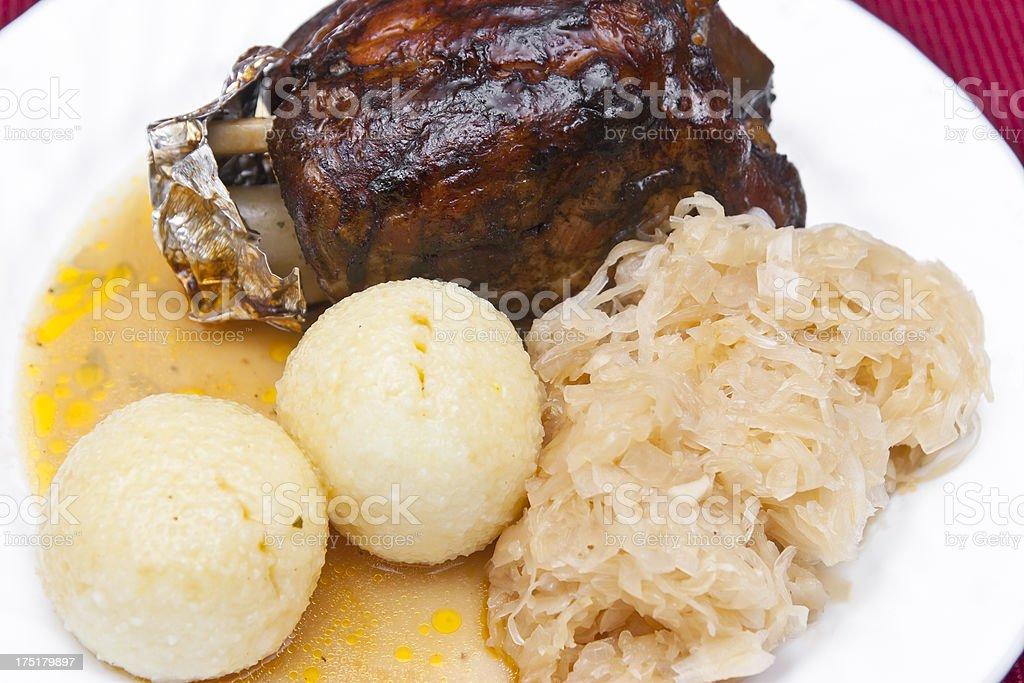 Pork Dumplings and Sauerkraut royalty-free stock photo