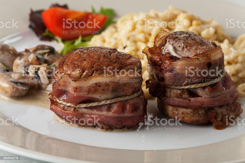 pork filet with spaetzle stock photo