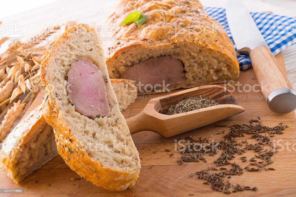 pork fillet in the bread brown royalty-free stock photo