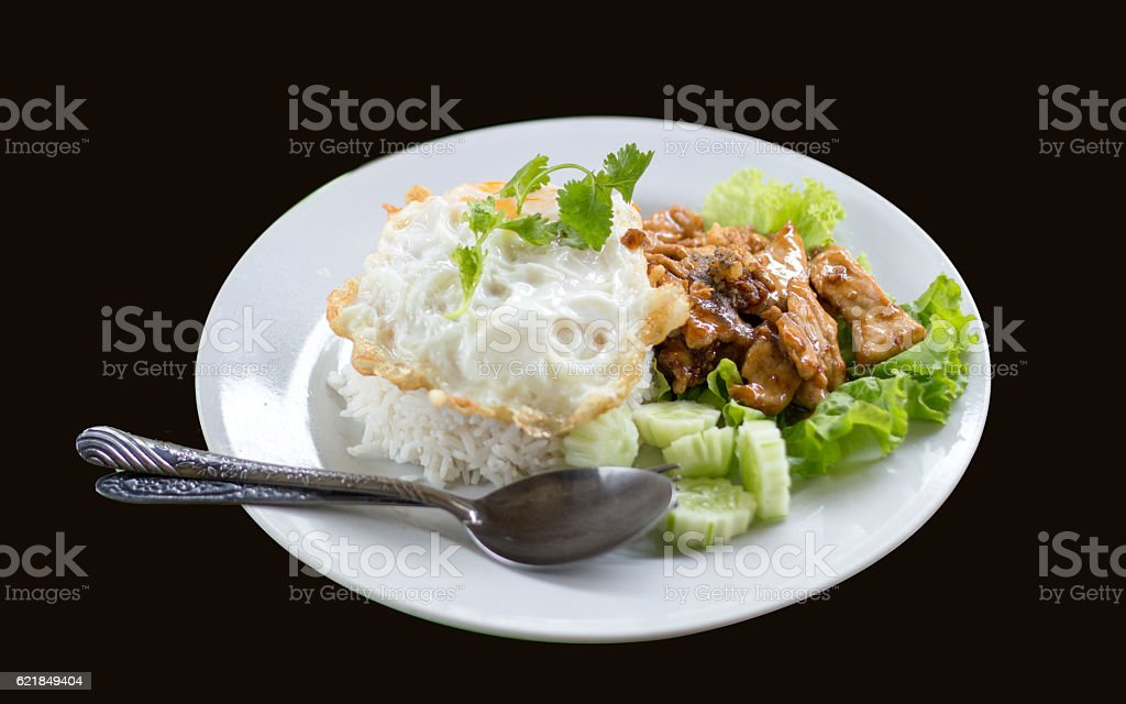 pork grill with garlic and pepper menu thai food stock photo