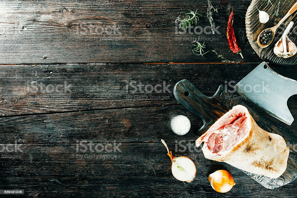Pork leg and spices stock photo