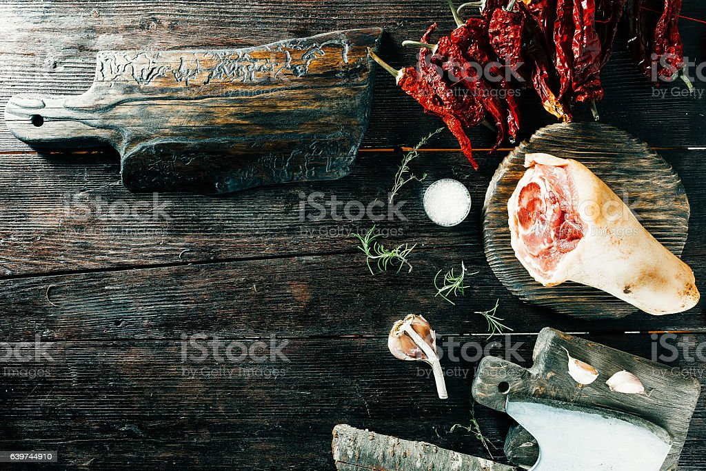 Pork leg and spices stock photo