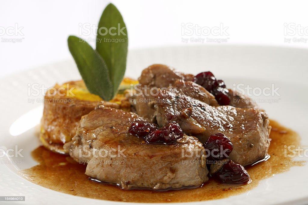 Pork Loin Medallions in Port Wine Sauce royalty-free stock photo