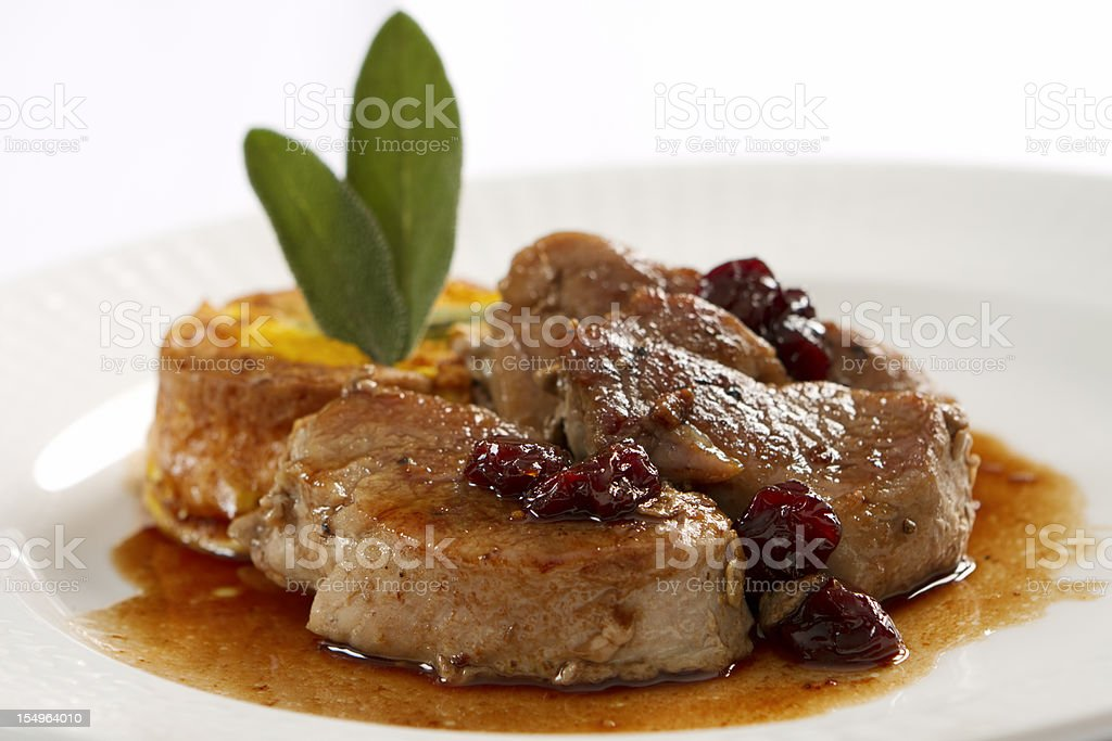 Pork Loin Medallions in Port Wine Sauce stock photo