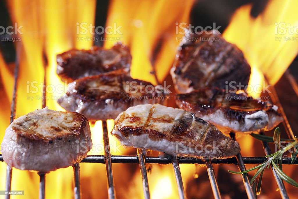 Pork Loin Medallions on Barbecue stock photo