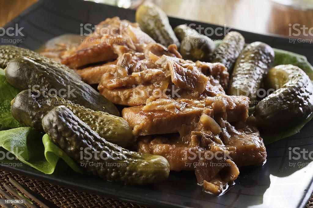 Pork loin with mushroom sauce royalty-free stock photo