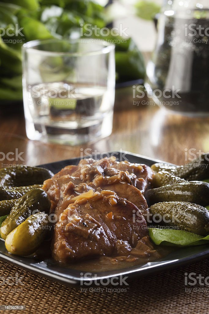 Pork loin with mushroom sauce royalty-free stock photo