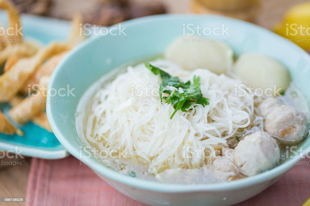 pork meatballs and noodle soup stock photo