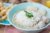 pork meatballs and noodle soup