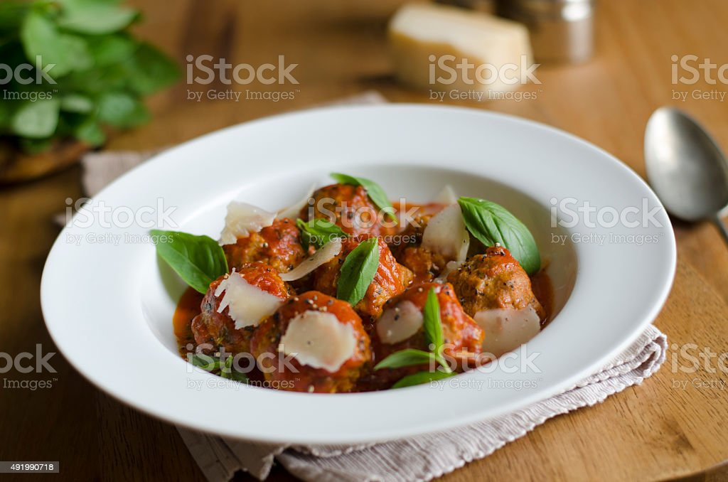 Pork meatballs stock photo
