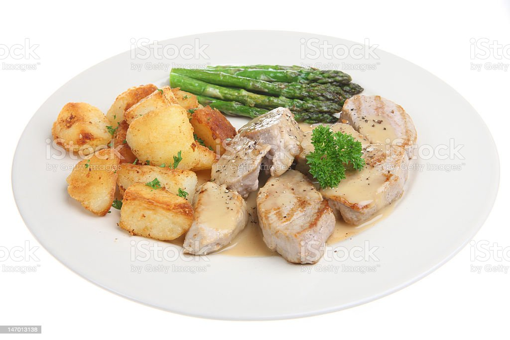Pork Medallions with Sauteed Potatoes royalty-free stock photo