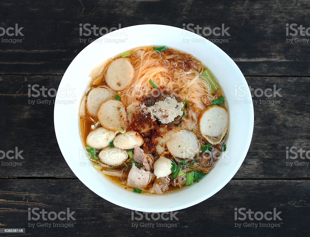 Pork noodle stock photo