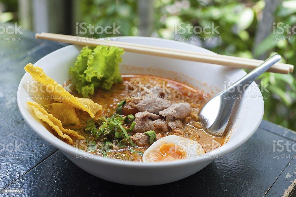 Pork noodle tom yum royalty-free stock photo