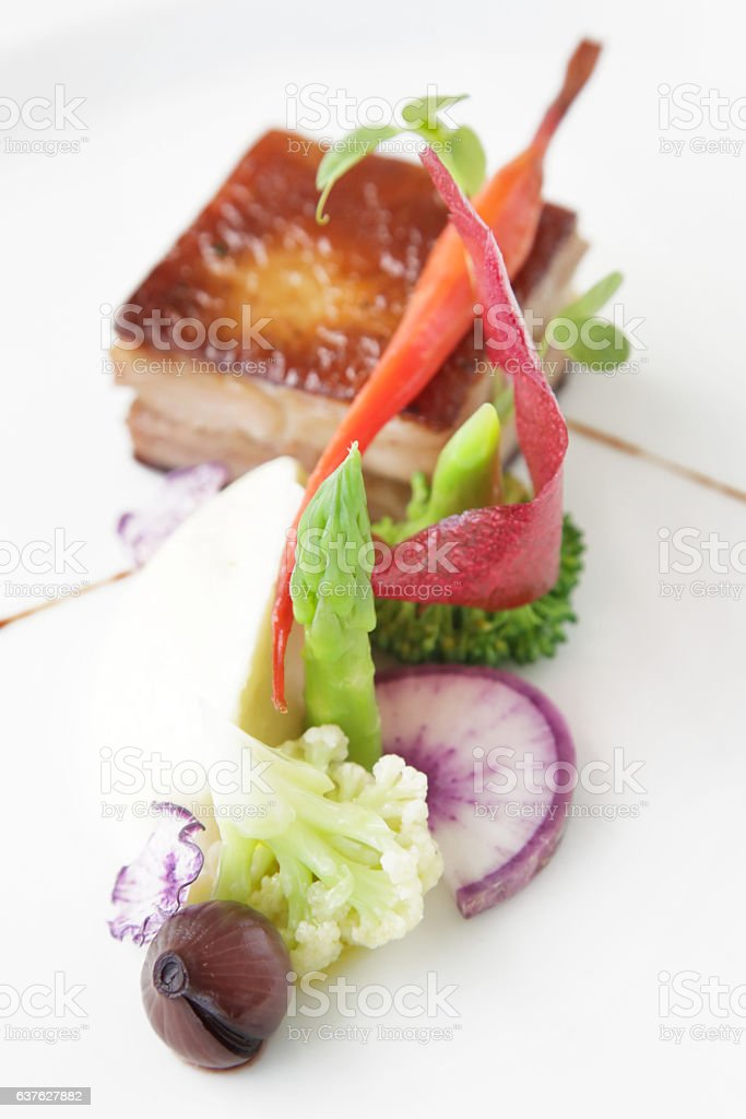 Pork piece of meat with vegetable stock photo