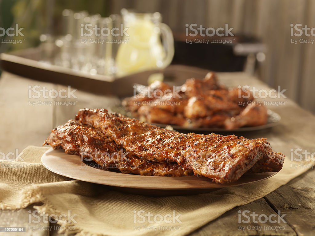 BBQ Pork Ribs and Chicken stock photo