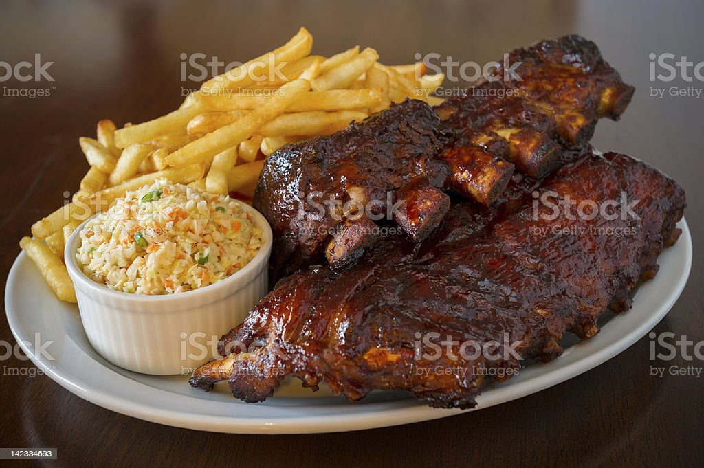 Pork ribs back meal stock photo