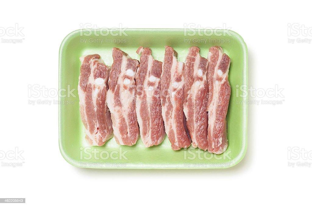 Pork Ribs in Foam Tray stock photo