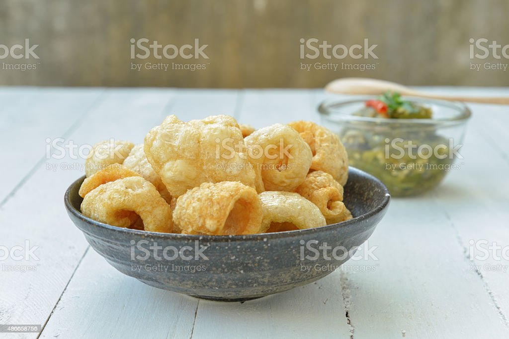 Pork rinds also known as chicharon or chicharrones stock photo
