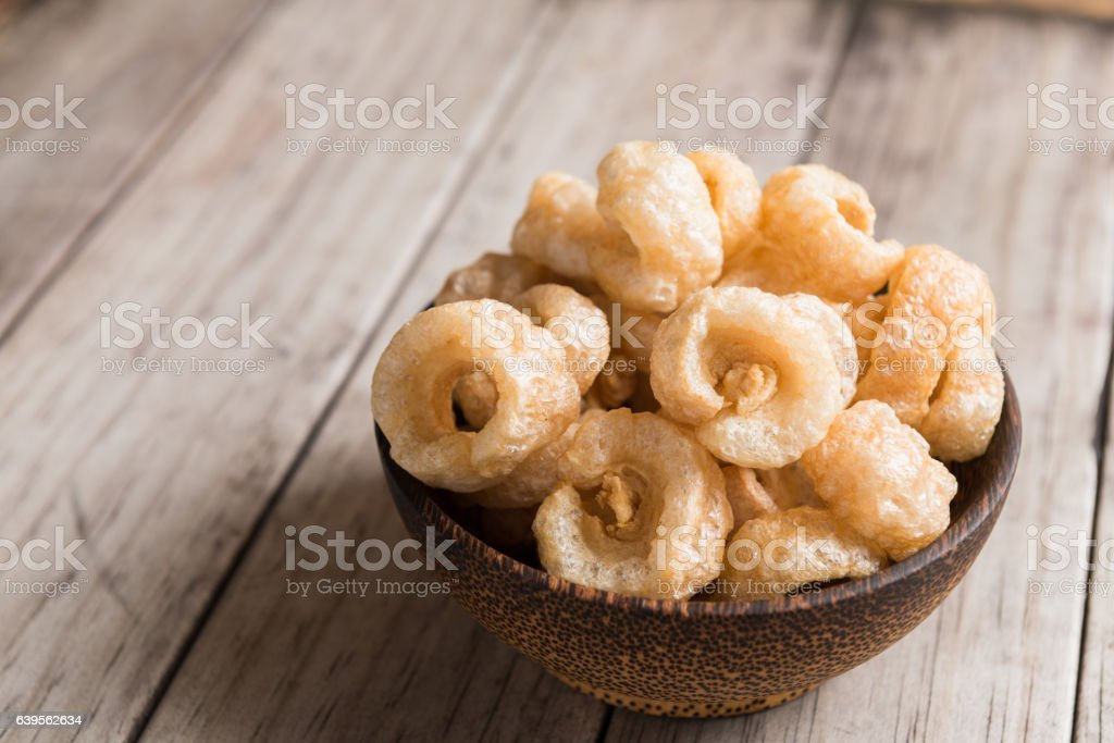 Pork rinds also known as chicharon stock photo