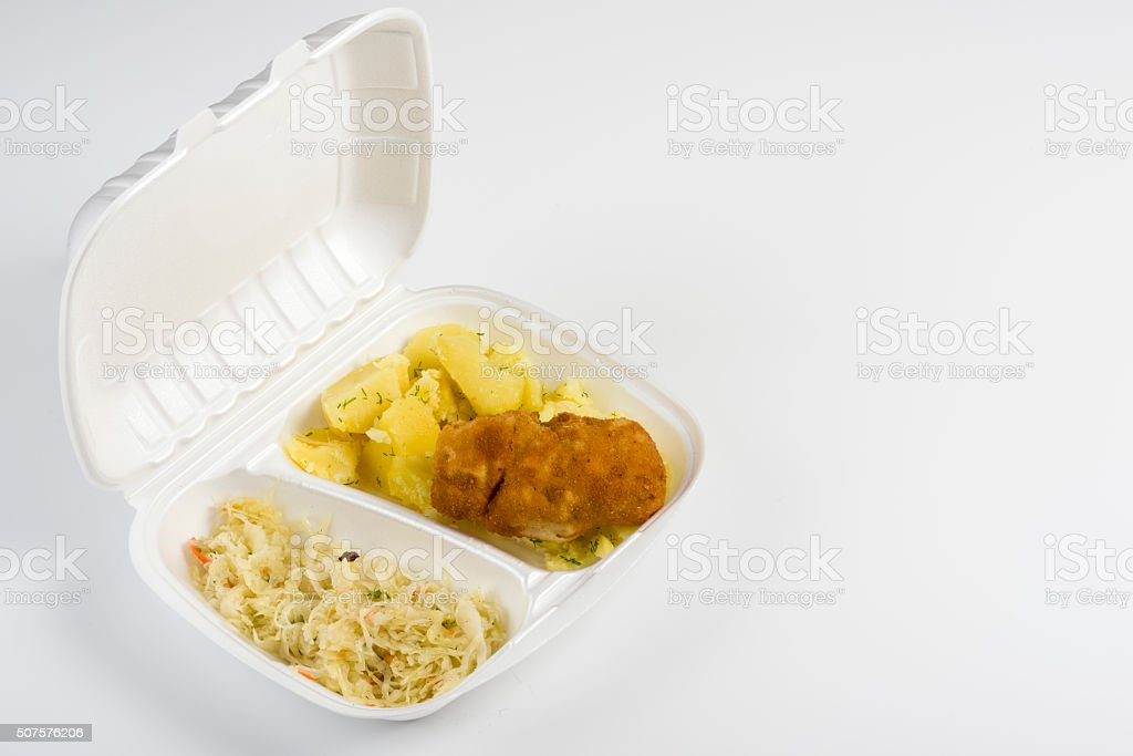 pork rolls with salad and potatoes stock photo