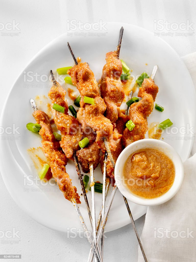 Pork Satay with Peanut Sauce stock photo