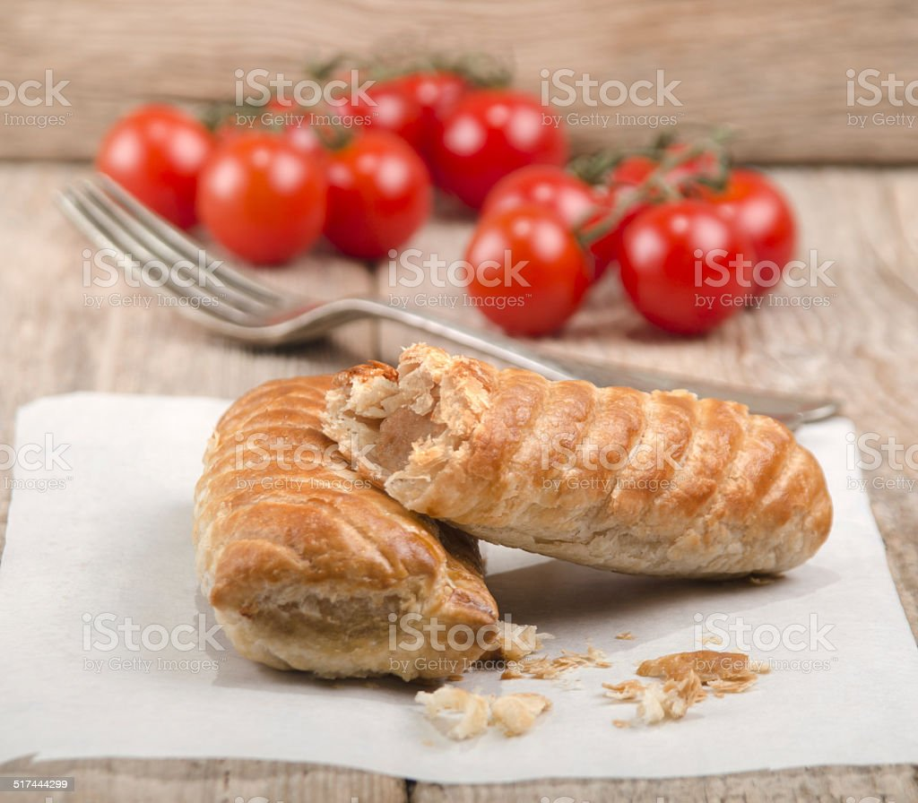 pork sausage rolls wrapped in pastry stock photo