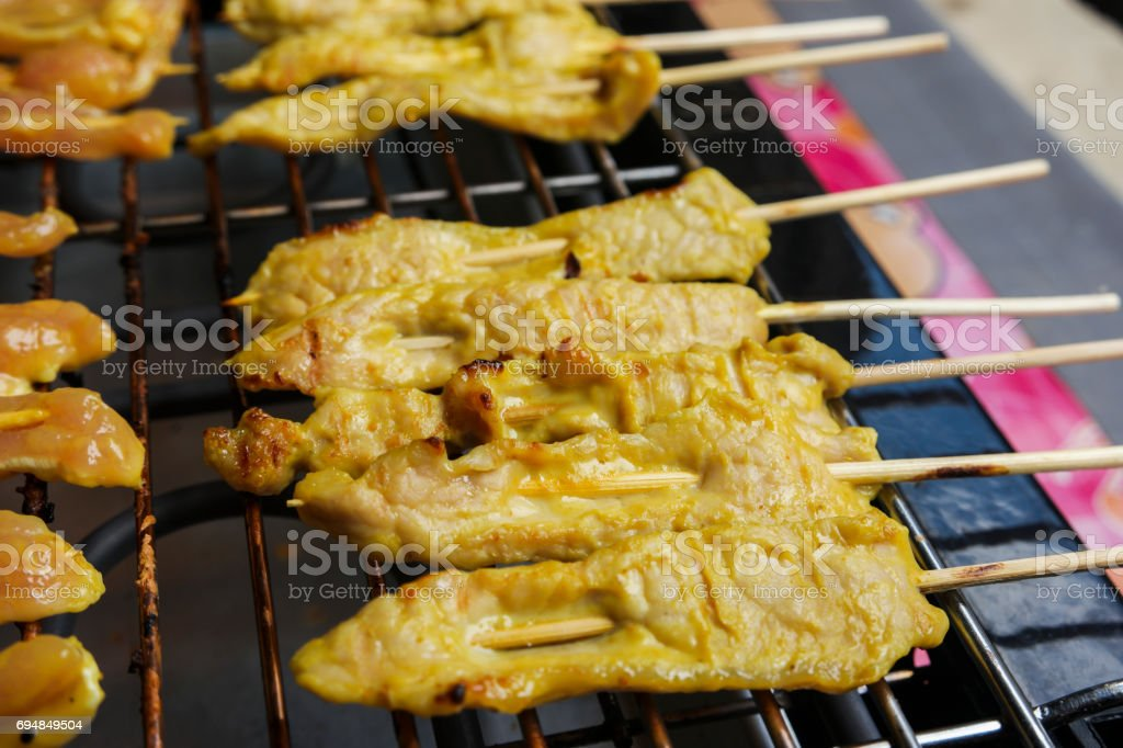 Pork sausages on grill. stock photo