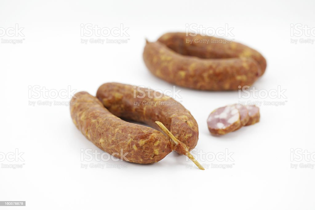 Pork sausages with a skewer from Slovenia royalty-free stock photo