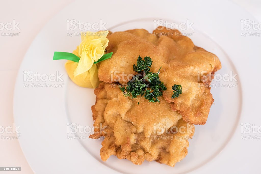pork schnitzel stock photo