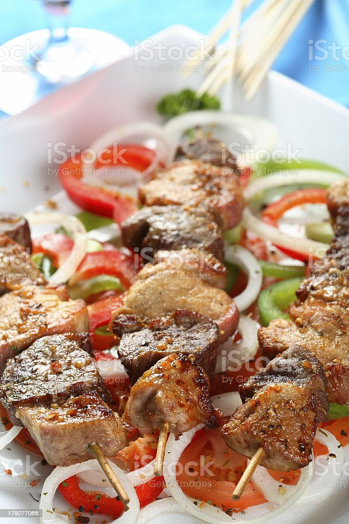 Pork shashlik royalty-free stock photo