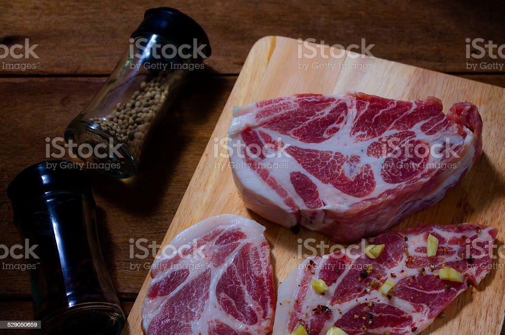 Pork slice for steak stock photo
