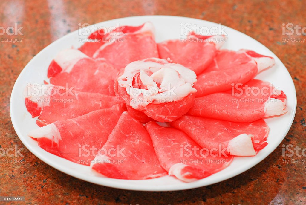 pork sliced for hot pot sukiyaki shabushabu stock photo