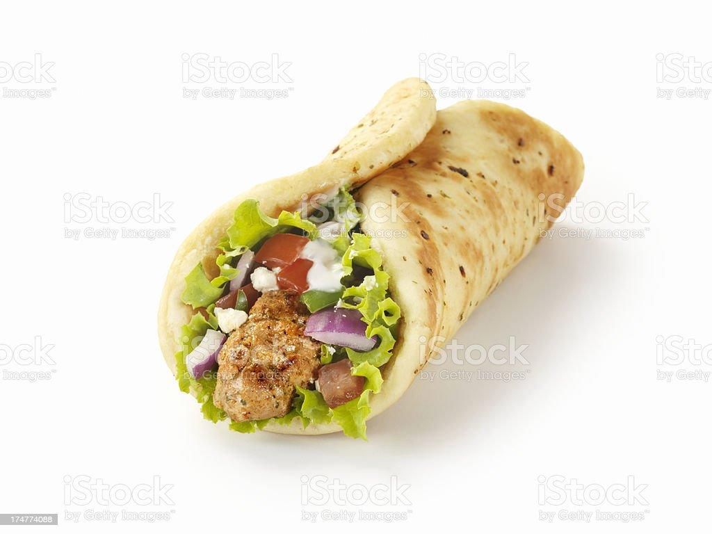 Pork Souvlaki Wrap stock photo