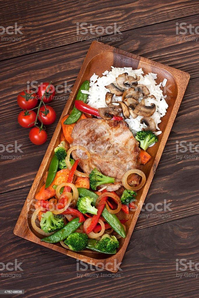 Pork  steak with garnish stock photo