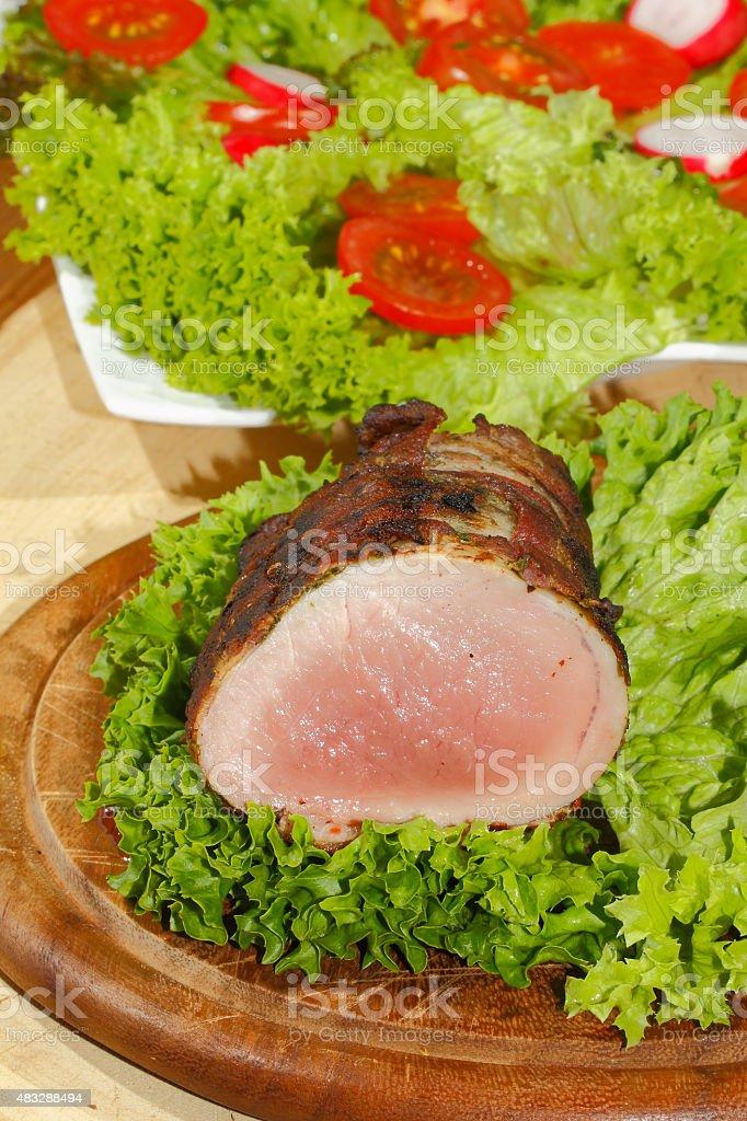 Pork tenderloin, pork medallions, grilled, pork, meat, bacon stock photo