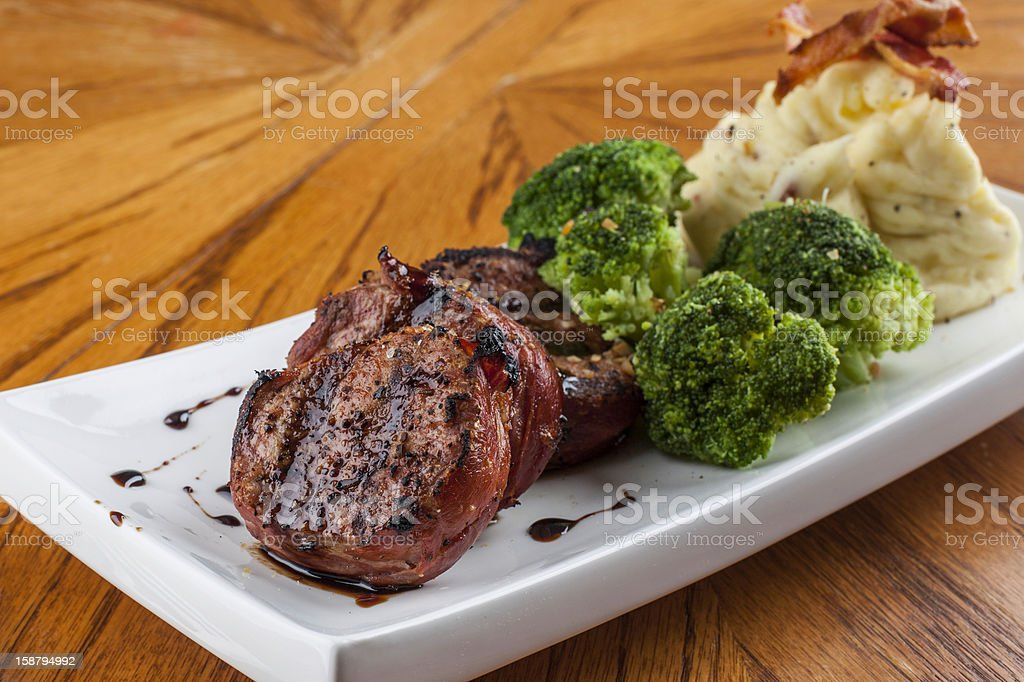 Pork Tenderloin with Mashed Potato and Broccoli stock photo